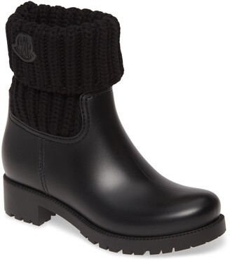 Moncler Ginette Knit Cuff Leather Rain Boot