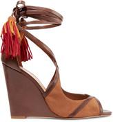 Schutz Kady tasseled leather wedge sandals