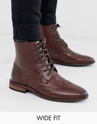 Asos Design DESIGN Wide Fit brogue boots in brown leather with natural sole