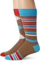 English Laundry Men's 2 Pack Argyle and Multi Stripe Crew Sock