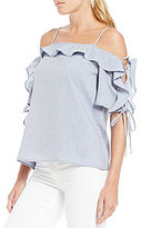WAYF Lace Up Cold Shoulder Chambray Top