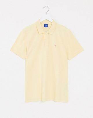 Jack and Jones Originals polo shirt with flamingo logo in yellow