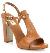 Valentino Garavani Rockstud Leather T-Strap Block Heel Sandals