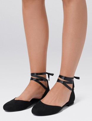 Forever New Faye Ankle Tie Ballerinas - Black - 36