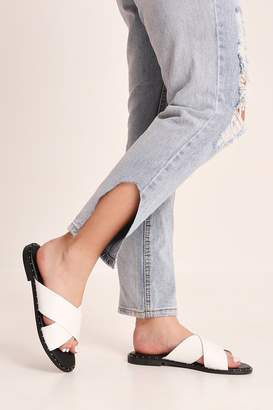 I SAW IT FIRST White Cross Over Flat Sandals