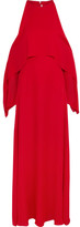 Rosetta Getty Cold-shoulder Draped Silk-georgette Gown - Red