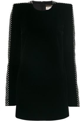 Saint Laurent Crystal-Embellished Velvet Dress