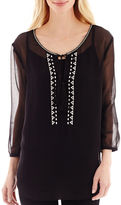 i jeans by Buffalo 3/4-Sleeve Sheer Embroidered Top