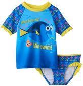 Disney Pixar Finding Dory Toddler Girl Ruffled Rashguard & Swimsuit Bottoms Set