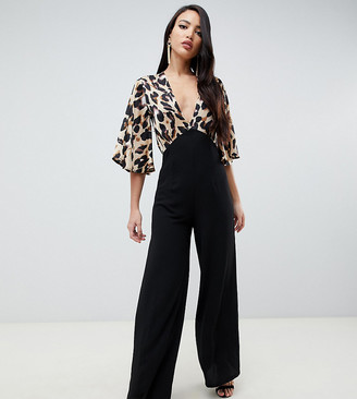 John Zack Tall contrast leopard top wide leg jumpsuit in black