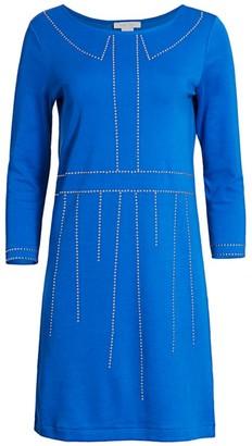Joan Vass Trompe L'Oeil Studded Three-Quarter Sleeve Dress