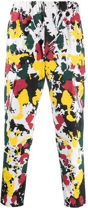 B Used Paint Splatter-Print Cargo Trousers