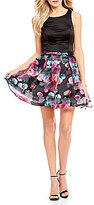 Sequin Hearts Floral Striped Skirt Two-Piece Dress