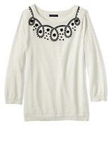 Classic Women's Petite Supima 3/4 Sleeve Soutache Sweater-Ivory