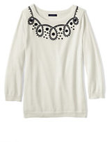 Lands' End Women's Tall Supima 3/4 Sleeve Soutache Sweater-Ivory