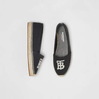 Burberry Monogram Motif Cotton and Leather Espadrilles