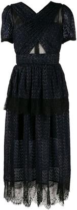 Self-Portrait Lace Panel Midi Dress
