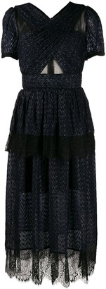 Self-Portrait lace panel midi dress