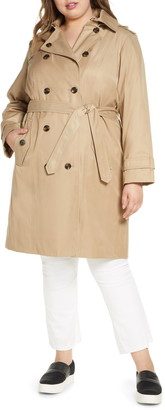 London Fog Knee Length Water Repellent Hooded Trench Coat