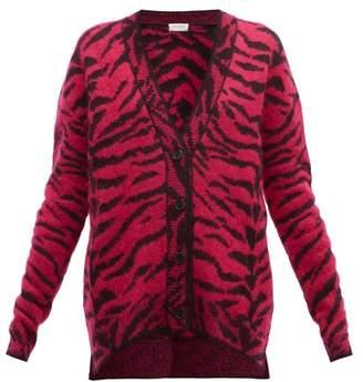 Saint Laurent Zebra-jacquard Wool-blend Cardigan - Womens - Pink Multi