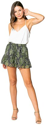 Lavender Brown Olive Snake Pull-On Shorts with Ruffle Hem (Olive/Black) Women's Shorts