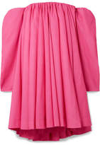 Calvin Klein Off-the-shoulder Gathered Taffeta Dress - Fuchsia