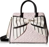 Betsey Johnson Big Bow 3 Entry Shopper Tote Handbag - Stripe