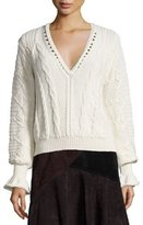 Nanette Lepore Cropped Cable-Knit Alpaca Sweater, Ivory