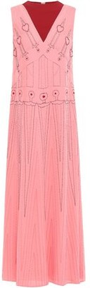 Valentino Bead-embellished Embroidered Two-tone Silk-crepe Midi Dress