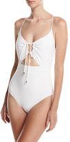 Michael Kors Front-Tie Solid One-Piece Swimsuit