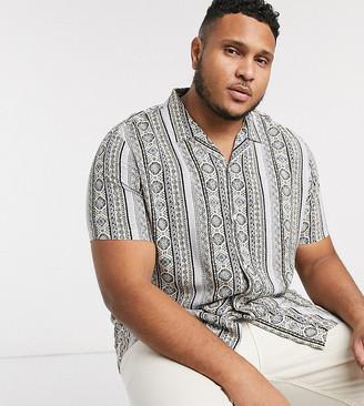 Asos Design DESIGN Plus revere collar regular fit shirt in gray geo-tribal print