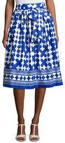 Kate Spade Lantern Poplin Tie-Waist Midi Skirt, Blue/White