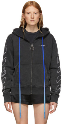 Off-White Black Abstract Arrows Slim Zip Hoodie