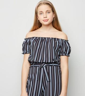 New Look Girls Stripe Scuba Bardot Top