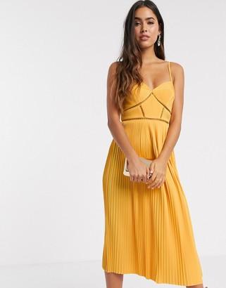 ASOS DESIGN Premium cami pleated midi dress with ladder trim detail in orange