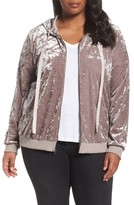 Sejour Plus Size Women's Crushed Velvet Hoodie Jacket