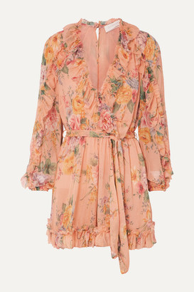 Zimmermann Zinnia Belted Ruffled Floral-print Silk-crepon Playsuit - Peach