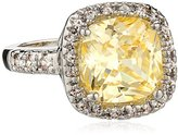 """Kenneth Jay Lane CZ by Classic"""" Canary Yellow Cushion Pave Cubic Zirconia Border Ring, Size 6, 6 CTTW"""