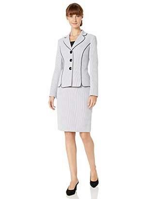 Le Suit Women's 3 Button Novelty DOT Skirt Suit