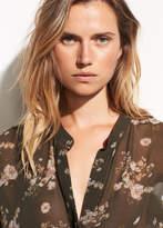 Vince Tossed Floral Shirred Silk Pullover