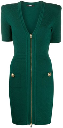 Balmain V-neck knitted dress
