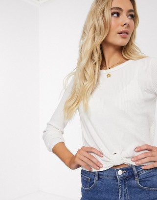 Hollister cozy tab front twist top in white
