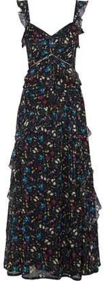 Love Sam Blossom Ruffled Floral-print Chiffon Maxi Dress