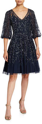 Aidan Mattox Beaded V-Neck Blouson-Sleeve Fit-&-Flare Dress