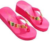 FTXJ Women Summer Beach Flat Wedge Patch Sandals Flip Flops