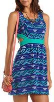 Charlotte Russe Cutout Tribal A-Line Dress
