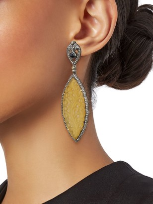 Artisan 925 Sterling Silver, 18K Gold & Multi-Stone Drop Earrings
