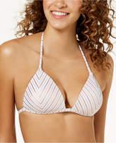 Hula Honey Juniors' Oceanfront Striped Push-Up Bikini Top, Created for Macy's Women's Swimsuit