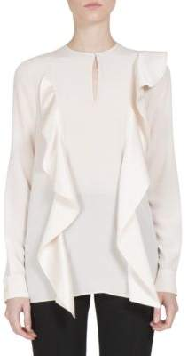Givenchy Ruffle-Detail Silk Crepe de Chine Blouse