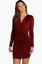 boohoo Slinky Wrap Long Sleeve Bodycon Dress